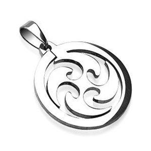 Přívěsek z oceli kruh kroutící vítr obraz