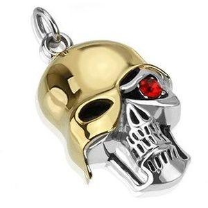 Ocelový přívěsek - patinovaná lebka se zlatou přilbou, červený zirkon obraz
