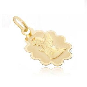 Zlatý přívěsek 585 - známka s vroubkovaným lemem a klečícím andělem obraz