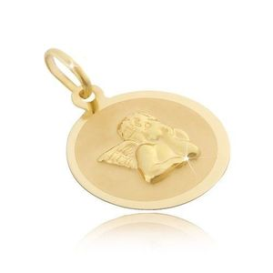 Zlatý 14 karátový kruhový přívěsek - matný povrch s 3D andělem obraz