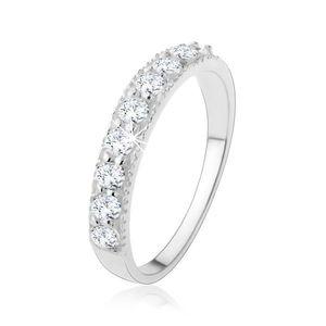 Stříbrný 925 prsten - třpytivá zirkonová linie v čiré barvě - Velikost: 57 obraz