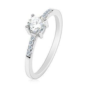 Stříbrný prsten 925, tenká ramena, kulatý čirý zirkon, třpytivé linie - Velikost: 54 obraz