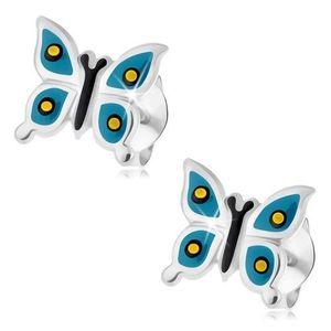 Puzetové náušnice, stříbro 925, lesklý motýlek, modrá křídla, žlutočerné tečky obraz
