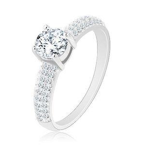 Stříbrný prsten 925, kulatý čirý zirkon, čirá zirkonová ramena - Velikost: 54 obraz