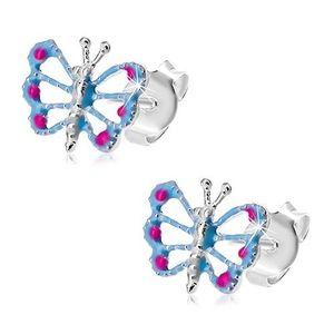 Náušnice ze stříbra 925, motýlek s modrými křídly, výřezy, růžové tečky obraz