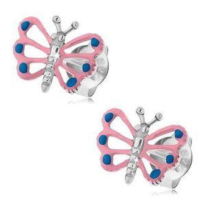 Patinované náušnice, stříbro 925, motýlek se světle růžovými křídly, výřezy obraz