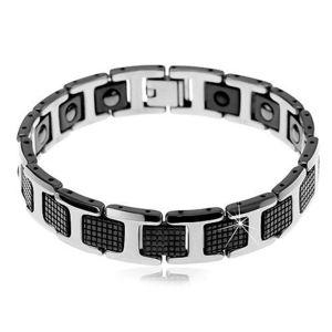 Magnetický náramek z wolframu - černé dílky a H-články stříbrné barvy obraz