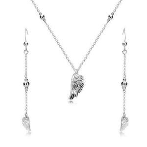 Stříbrný set 925 - náušnice a náhrdelník, andělské křídlo a lesklé kuličky obraz