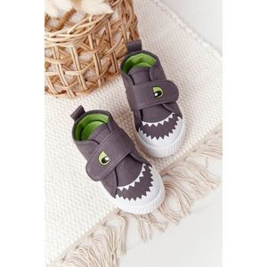 Children's Sneakers With Velcro With A Shark Grey obraz