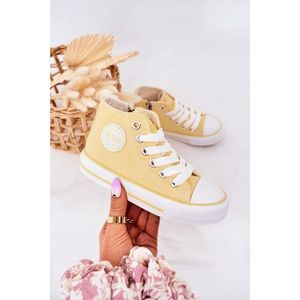 Children's High Sneakers With A Zipper BIG STAR HH374138 Yellow obraz