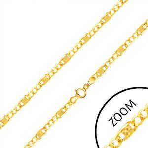 Řetízek ze žlutého 14K zlata, tři očka, dlouhý článek s mřížkou, 450 mm obraz