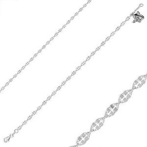 Stříbrný náramek 925 - motiv anděla, lesklé čtyřlístky a ovály, karabinka obraz