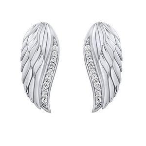 Silvego Třpytivé stříbrné náušnice Andělská křídla se zirkony Lasha FW10187E obraz