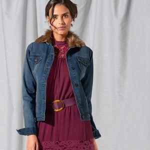 Džínová bunda, imitace kožešiny modrá 38 obraz