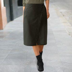Pouzdrová sukně s potiskem kostičky bronzová/černá 42 obraz