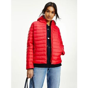 Tommy Hilfiger dámská červená prošívaná bunda obraz