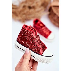 Children's Sneakers High Shiny Red Ally obraz