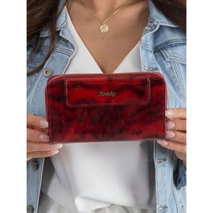 Animal red leather wallet obraz