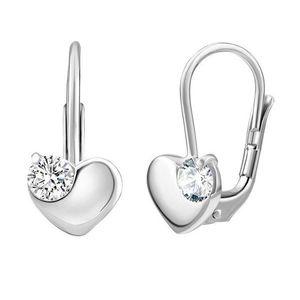 Silvego Něžné stříbrné náušnice srdce s čirými zirkony Swarovski SILVEGO70462s obraz